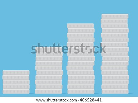 Coin stock silver money. Silver coin vector and silver finance, wealth coin investment and money growth, metal market and financial coin heap. Vector flat design illustration - stock vector