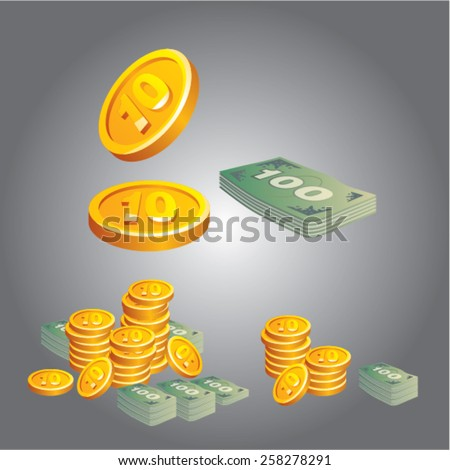 coins and banknotes money. vector illustration - stock vector