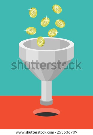 coins fall into the funnel, vector illustration flat style - stock vector
