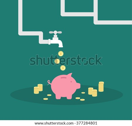 Coins flows from water tap to piggy bank. Money flow flat design business concept - stock vector