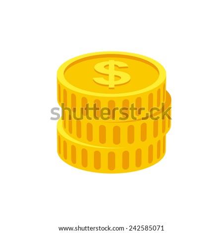 Coins icon  (flat design) - stock vector