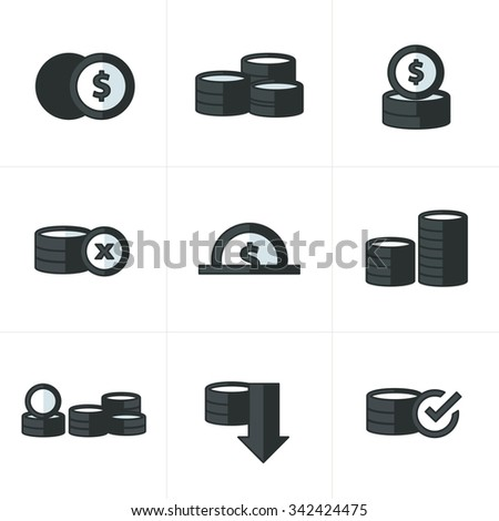 Coins Icons Set  black color - stock vector