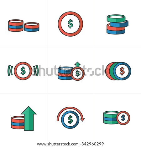 Coins Icons Set, blue, green, red color - stock vector