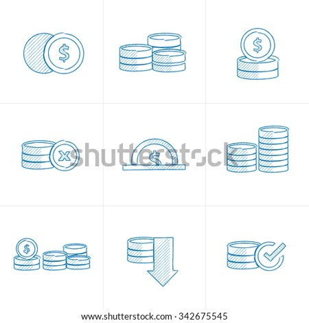 Coins Icons Set pen draw - stock vector