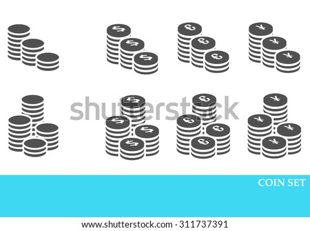 Coins Icons Set, Vector Design black color - stock vector