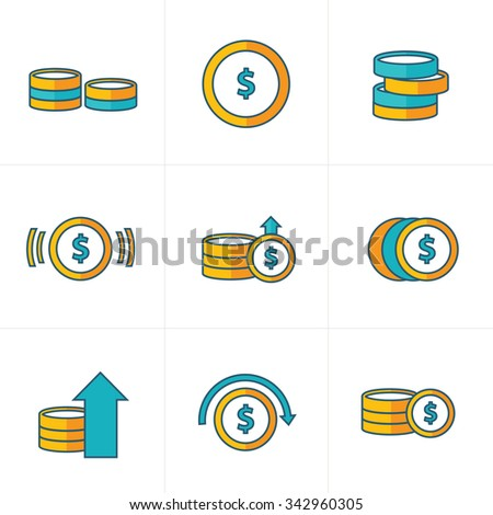 Coins Icons Set, yellow and green style - stock vector