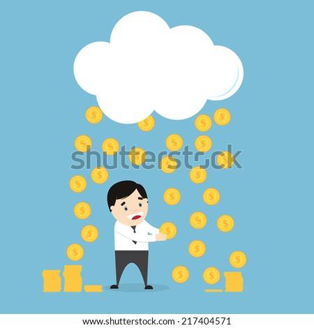 Coins raining over a businessman. Win a lottery. Flat design. Vector illustration - stock vector