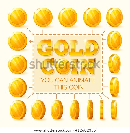 Coins rotation frames for web, game or app interface. Golden coins. Coins for animation. - stock vector