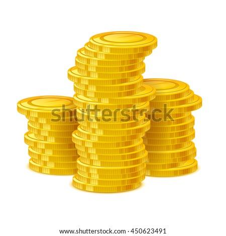 Coins stack vector illustration. Golden money cash. Wealth finance earning income symbol. - stock vector