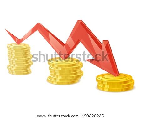 Coins stack vector illustration. Golden money cash. Wealth finance symbol. Red arrow - income earnings decrease. - stock vector