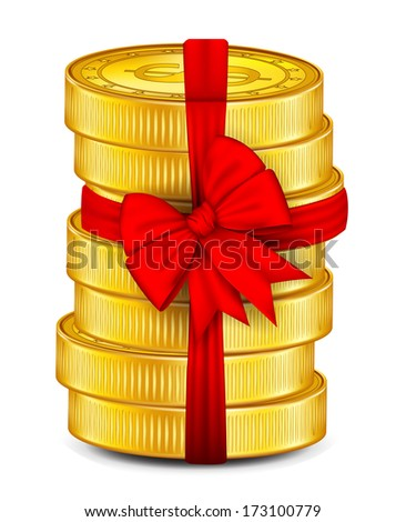 Coins tied with red ribbon.vector - stock vector
