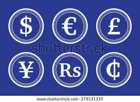Coins various currencies, illustration - stock vector