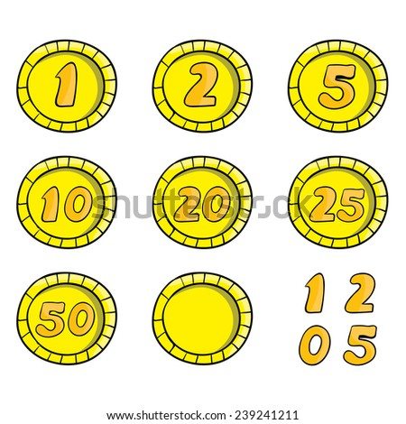 coins, vector illustration on a white background - stock vector