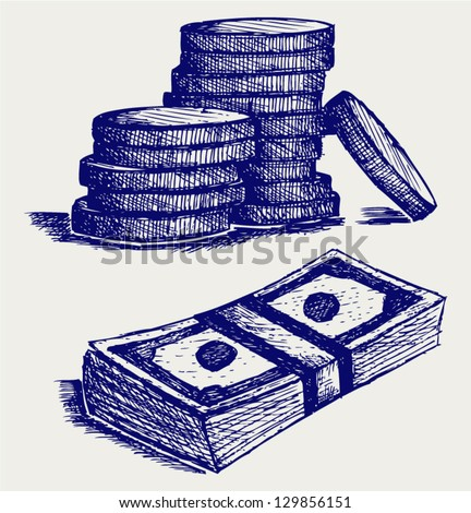 Coins with dollar bill. Doodle style - stock vector