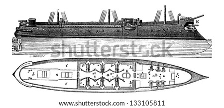 Colbert, a French Ironclad Ship, vintage engraved illustration. Industrial Encyclopedia - E.O. Lami - 1875 - stock vector