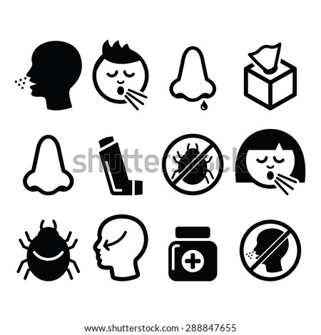 Cold, flu icons - nasal infection, allergy, nose design  - stock vector