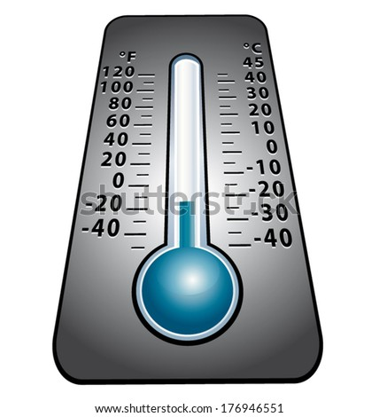 Cold snap. Thermometer vector icon. - stock vector