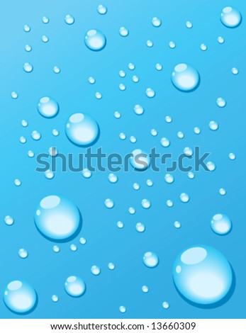 Cold window covered with water droplets.  vector illustration