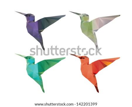 Colibri origami style vector polygonal illustration. - stock vector
