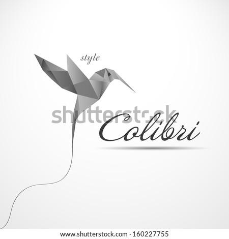 Colibri paper icon - stock vector