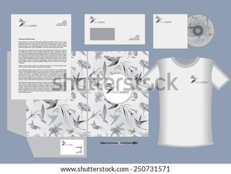 Colibri vector corporate identity template design, humming bird logo, grayscale - stock vector