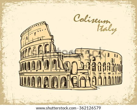 Coliseum in Rome, Italy. Colosseum hand drawn vector illustration in old paper, ink sketch - stock vector