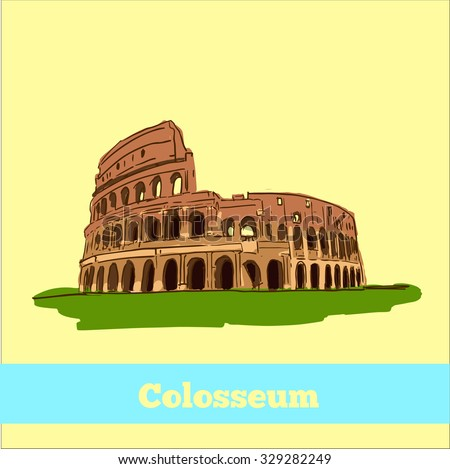 Coliseum in Rome, Italy. Colosseum hand drawn vector illustration isolated over white background - stock vector