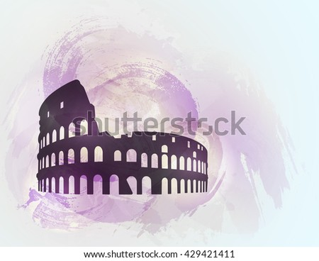 Coliseum ruin silhouette on colorful background. Coliseum sign. Tourism sight. Vector illustration. - stock vector