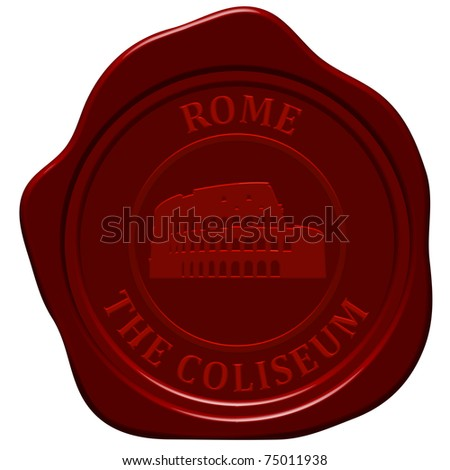 Coliseum. Sealing wax stamp for design use. - stock vector