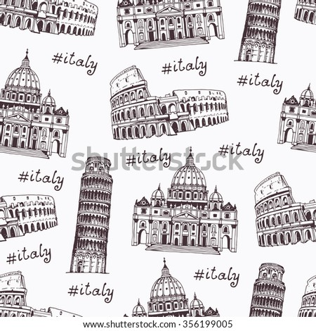 Coliseum, Tower of Pisa, St. Peter's Cathedral, hand drawn illustration with landmarks of Rome, Italy. Vector pattern, italian travel background