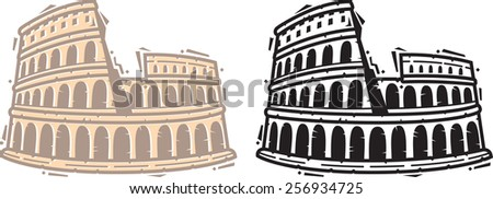 Coliseum Vector Icon. Greek Inspired Icon Series. - stock vector