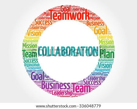 Collaboration circle stamp word cloud, business concept - stock vector