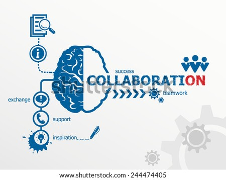 Collaboration concept. Communication in the global computer networks - stock vector