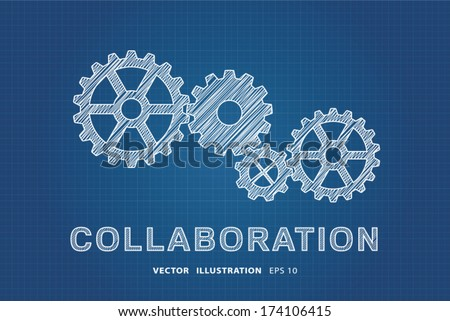Collaboration Concept. Technical drawing of gears, the idea of teamwork and success. - stock vector