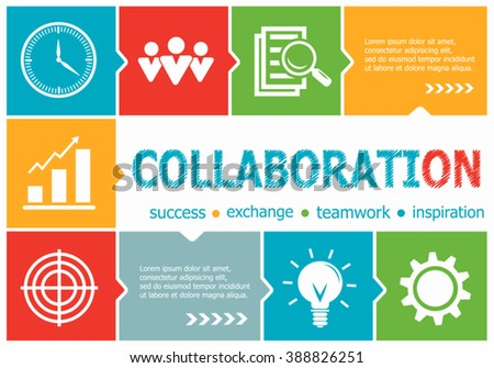 Collaboration design illustration concepts for business, consulting, management, career. Collaboration concepts for web banner and printed materials. - stock vector