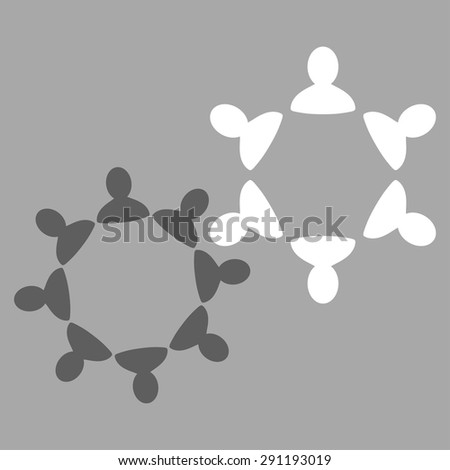 Collaboration icon from Commerce Set. Vector style: bicolor flat symbol, dark gray and white colors, rounded angles, silver background. - stock vector