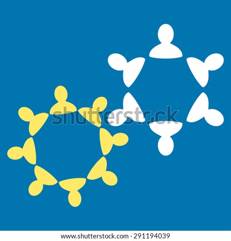 Collaboration icon from Commerce Set. Vector style: bicolor flat symbol, yellow and white colors, rounded angles, blue background. - stock vector