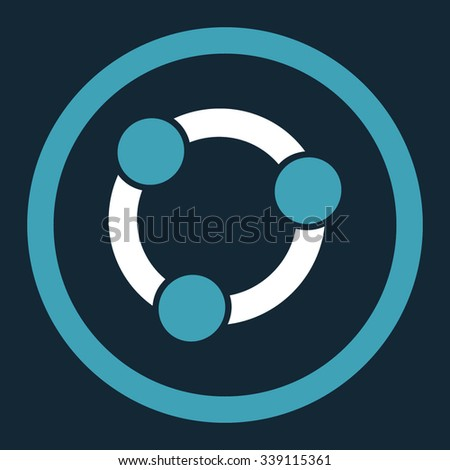 Collaboration vector icon. Style is bicolor flat rounded symbol, blue and white colors, rounded angles, dark blue background. - stock vector