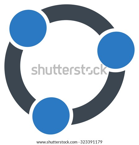 Collaboration vector icon. Style is bicolor flat symbol, smooth blue colors, rounded angles, white background.