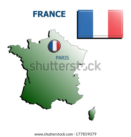 collage map flag badge france  on white background