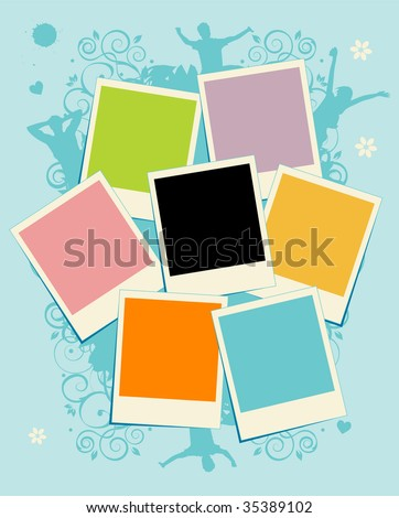Collage of photos. Template. Insert your picture into frame - stock vector
