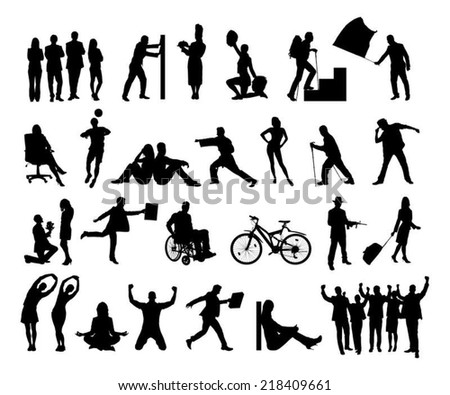 Collage of silhouette people doing various activities over white background. Vector image - stock vector