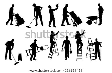Collage of various silhouette workers isolated over white background. Vector image - stock vector