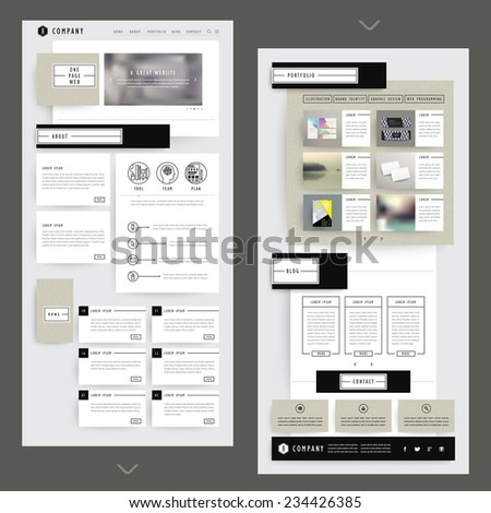collage one page website template design with corrugated paper elements  - stock vector