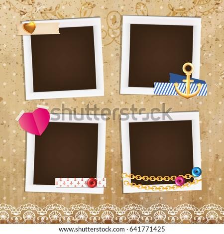 collage photo frame on vintage background stock vector 428634973 shutterstock. Black Bedroom Furniture Sets. Home Design Ideas