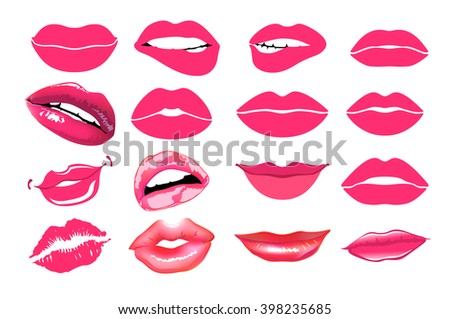 collage, pink. Set of isolated women lips. Vector illustration. design element.  mouths close up with red lipstick makeup expressing different emotions. EPS10 vector. - stock vector