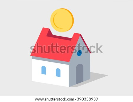 Collect money for your house. Save money for living motivating picture. Flat design isolated on white.