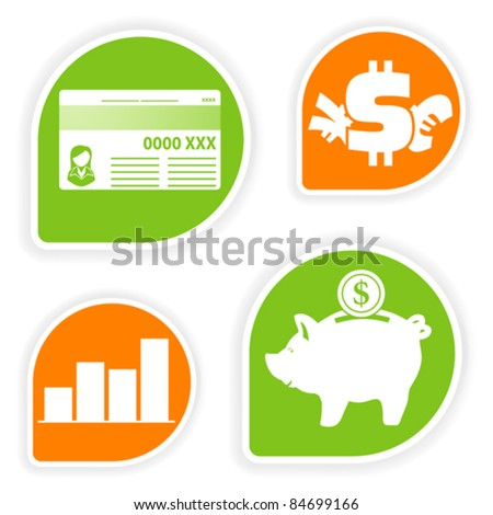 Collect sticker with business and finance icon, element for design, vector illustration - stock vector