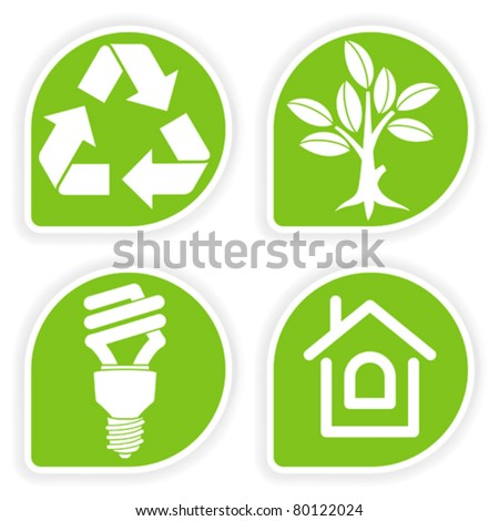Collect sticker with environment icon, tree, leaf, light bulb and Recycling Symbol, vector illustration - stock vector