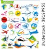 COLLECTION_1 Air lines vector Icons for Web. Series symbols of tourism Airplane. A set of transportation abstract color element corporate templates. Just place your own company name. - stock vector